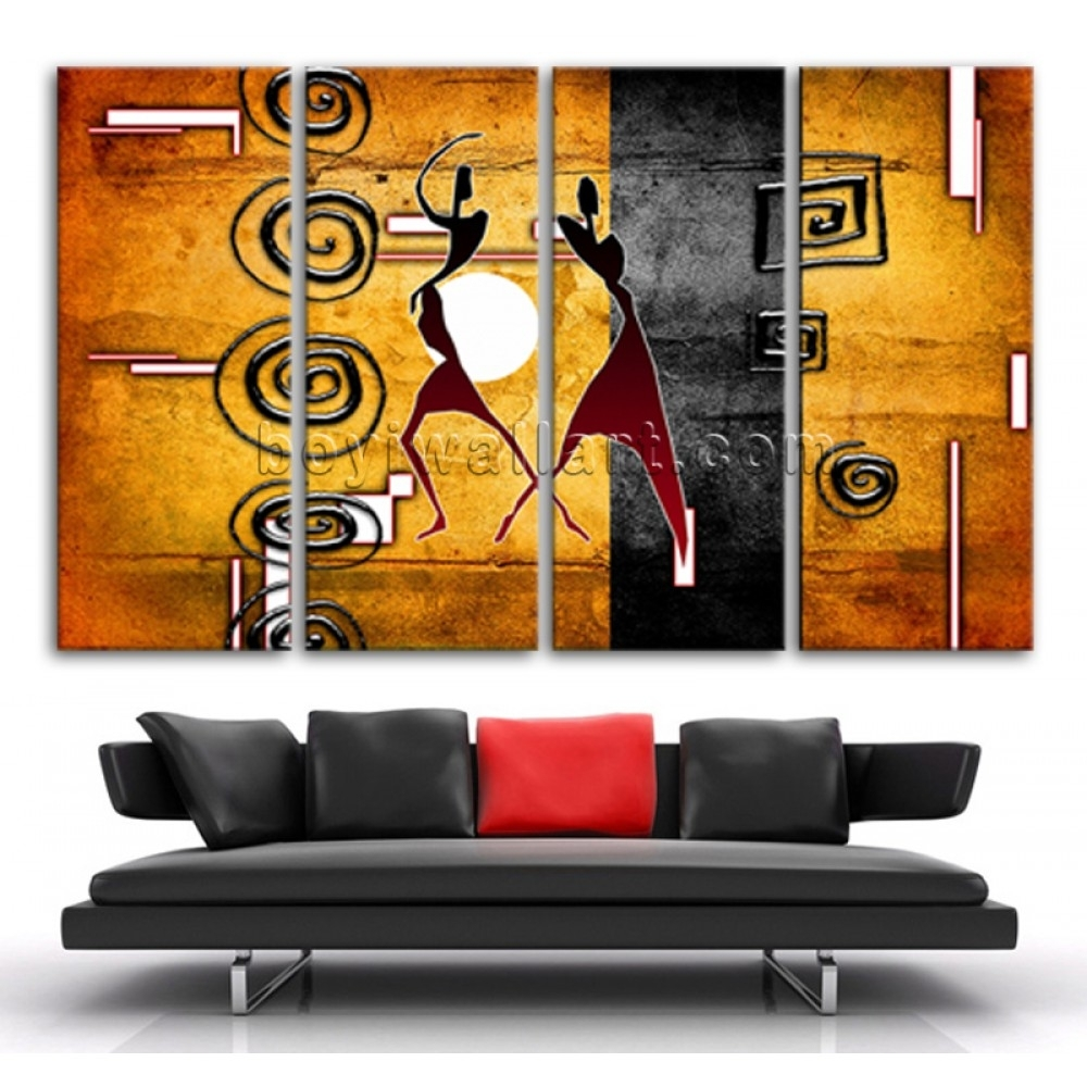 Extra Large African Motive Ethnic Retro Vintage Figure On Canvas Within Recent Ethnic Canvas Wall Art (Gallery 13 of 15)