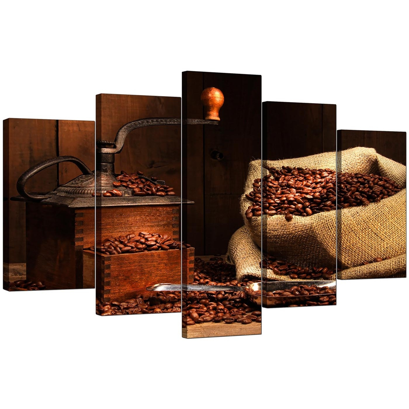 Extra Large Coffee Beans Canvas Wall Art 5 Piece In Brown In Recent Coffee Canvas Wall Art (View 4 of 15)