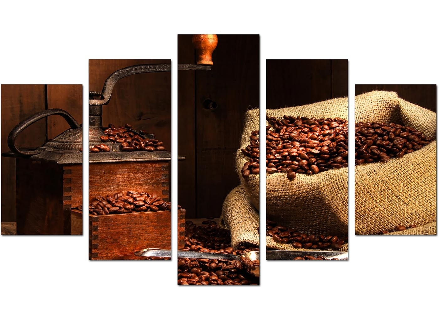 Extra Large Coffee Beans Canvas Wall Art 5 Piece In Brown Intended For Most Recently Released Kitchen Canvas Wall Art (View 6 of 15)