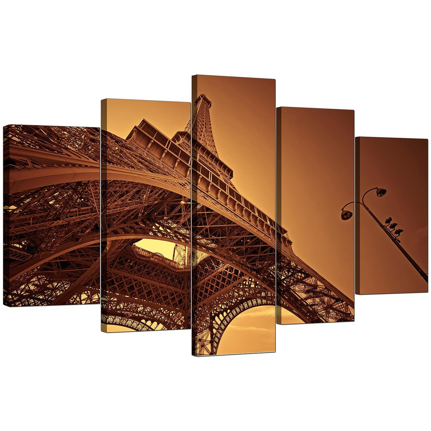 Extra Large Eiffel Tower Paris Canvas Art 5 Piece In Brown Regarding Most Up To Date Canvas Wall Art Of Paris (View 6 of 15)