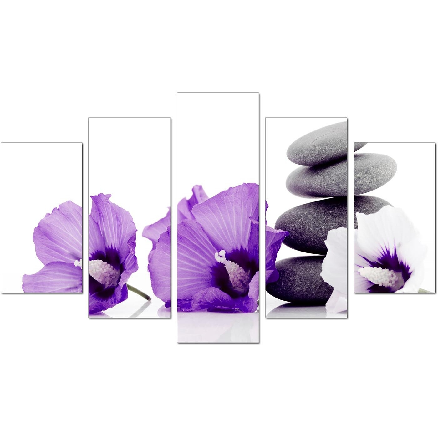 Extra Large Flowers Canvas Wall Art 5 Panel In Purple Intended For 2018 Purple Flowers Canvas Wall Art (Gallery 10 of 15)