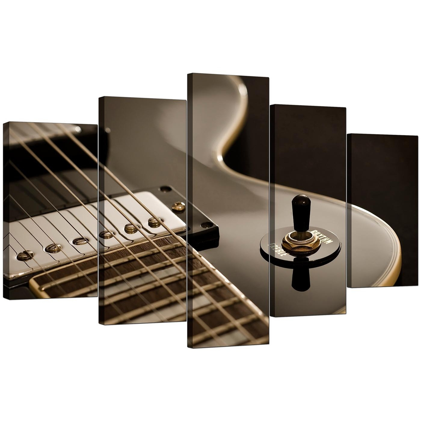 Extra Large Guitar Canvas Prints Uk 5 Piece In Black & White With Most Current Music Canvas Wall Art (View 13 of 15)