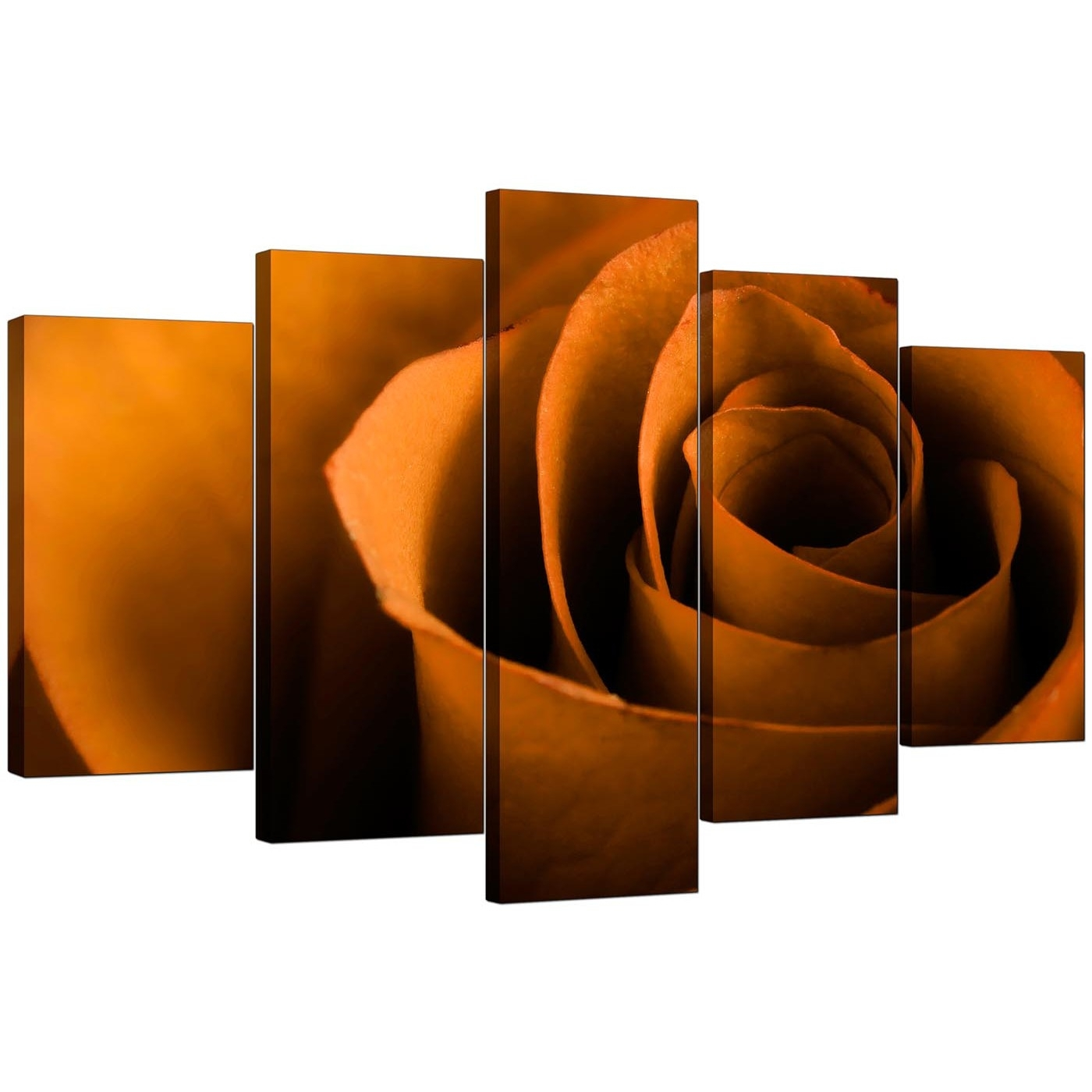 Extra Large Rose Canvas Wall Art 5 Panel In Orange Regarding 2017 Orange Canvas Wall Art (Gallery 1 of 15)