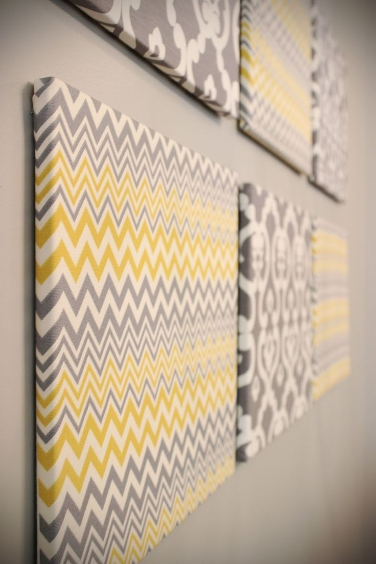 Fabric Stretched Over Wooden Frames? I Might Have To Experiment With Regard To Most Current Fabric Covered Squares Wall Art (View 5 of 15)