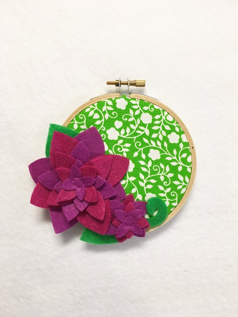 Fabric Wall Art – Clearance, Embroidery Hoop Art, Juicy ,floral Regarding Current Fabric Hoop Wall Art (View 13 of 15)