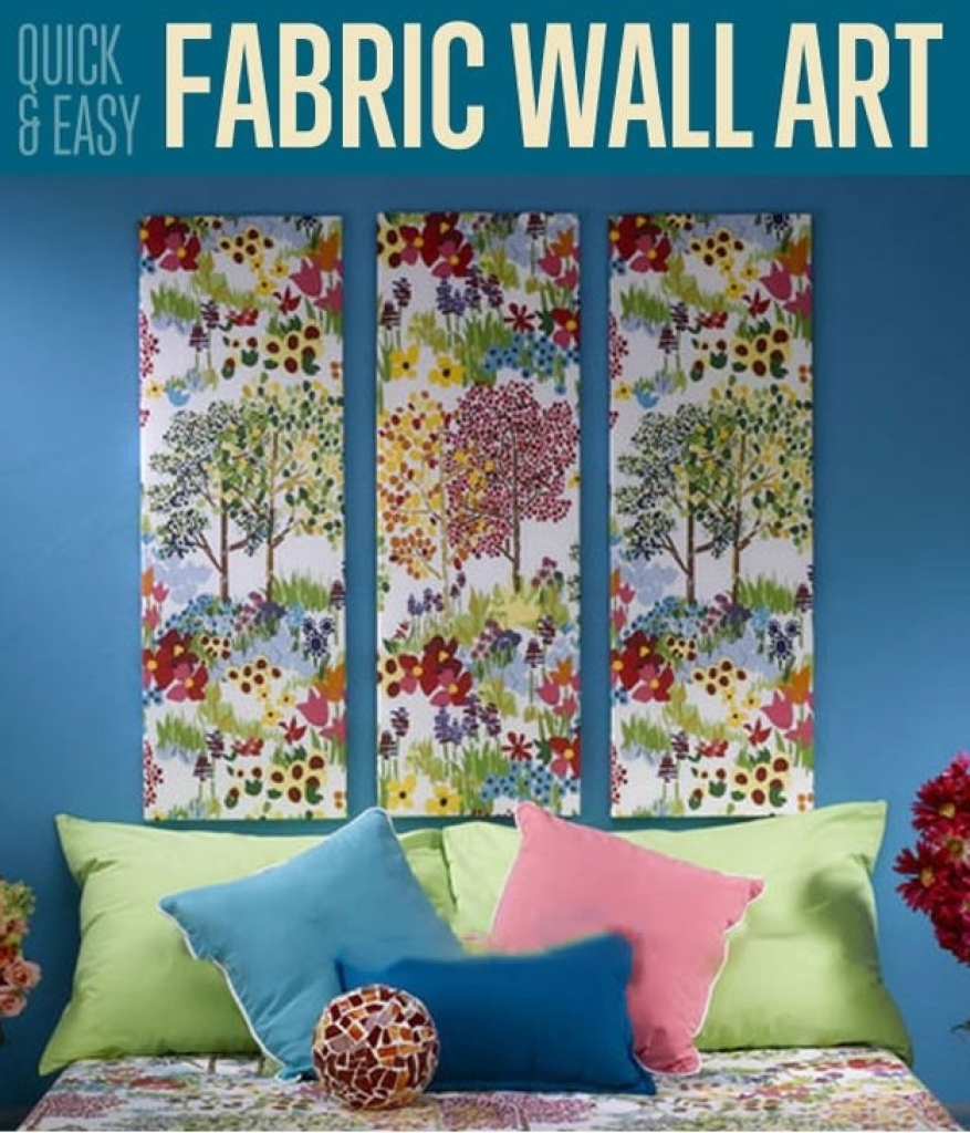 Fabric Wall Decoration Fabric Panel Wall Art Diy 1000 Images About throughout Most Popular Diy Fabric Panel Wall Art