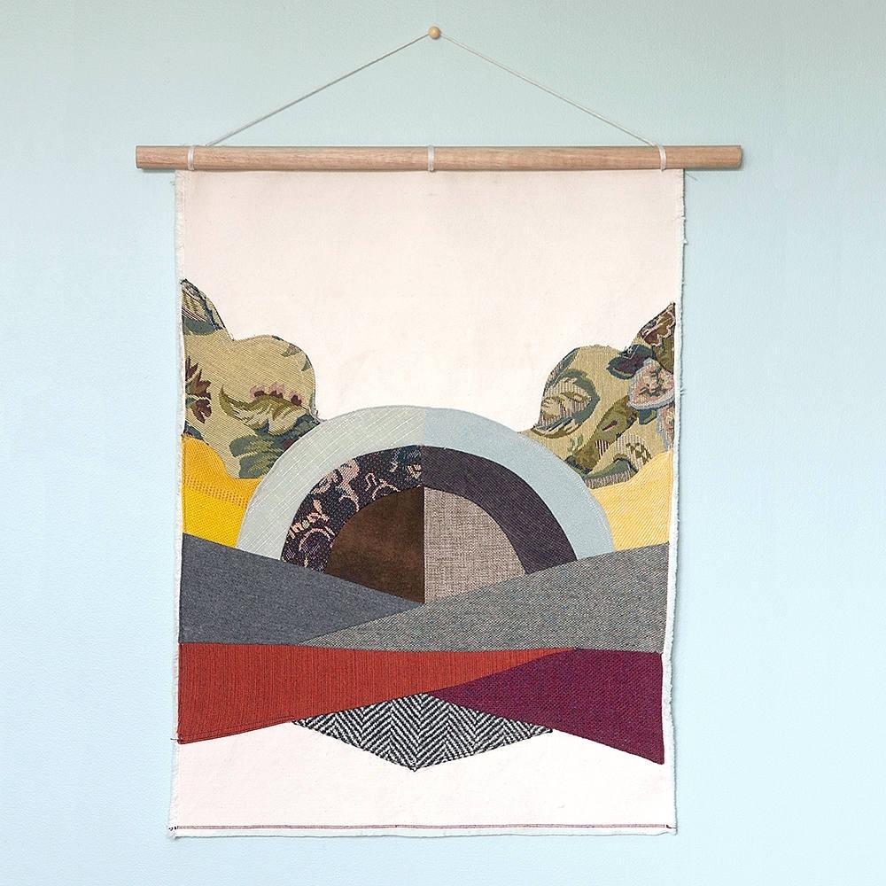 Fabric Wall Hanging Purple Teal Boho Decor Fiber Art Pertaining To Newest Purple Fabric Wall Art (Gallery 9 of 15)