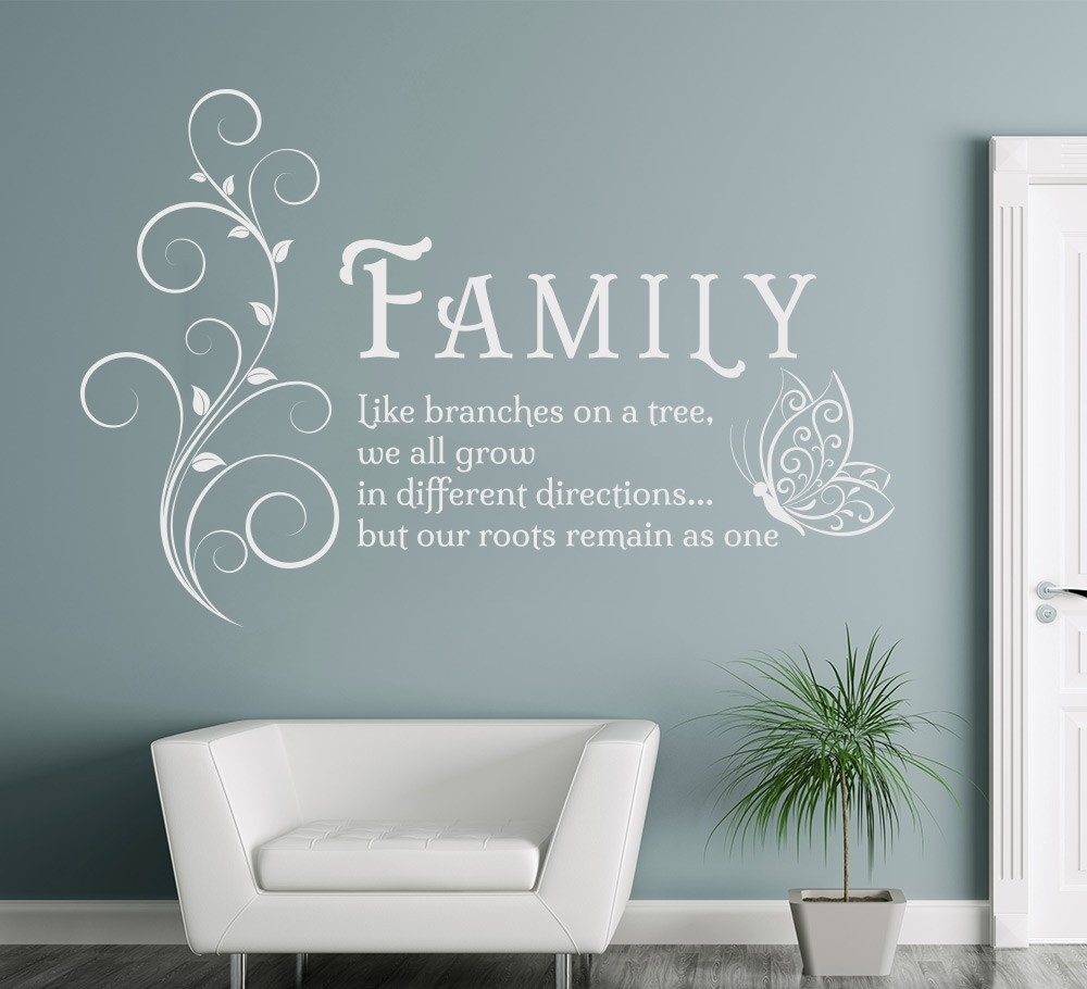Family Like Branches Quotes Butterfly Vinyl Wall Art Sticker inside Most Recently Released Canvas Wall Art Family Quotes