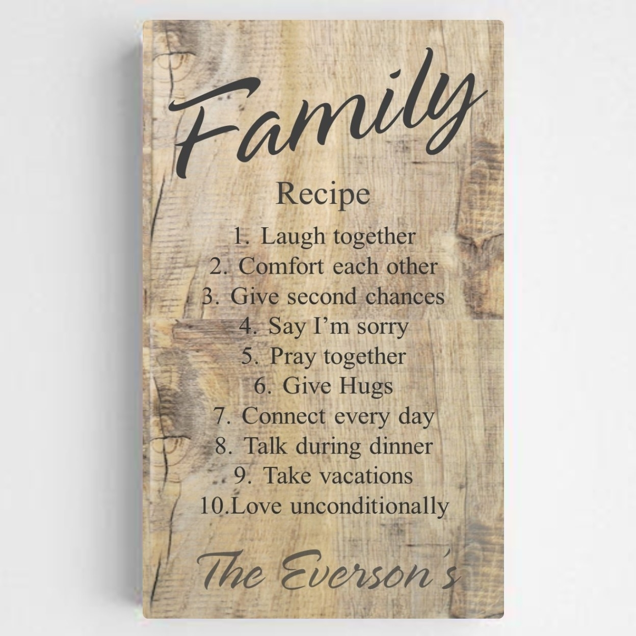 Family Recipe Rustic Canvas Sign | Family Gift | Arttowngifts Throughout Most Popular Rustic Canvas Wall Art (View 6 of 15)