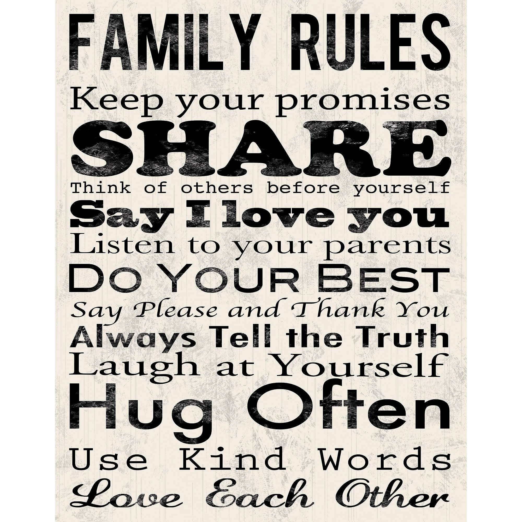 "Family Rules A Canvas Wall Art, 15"" X 19"" – Walmart For Most Recent Canvas Wall Art Family Rules (Gallery 4 of 15)"
