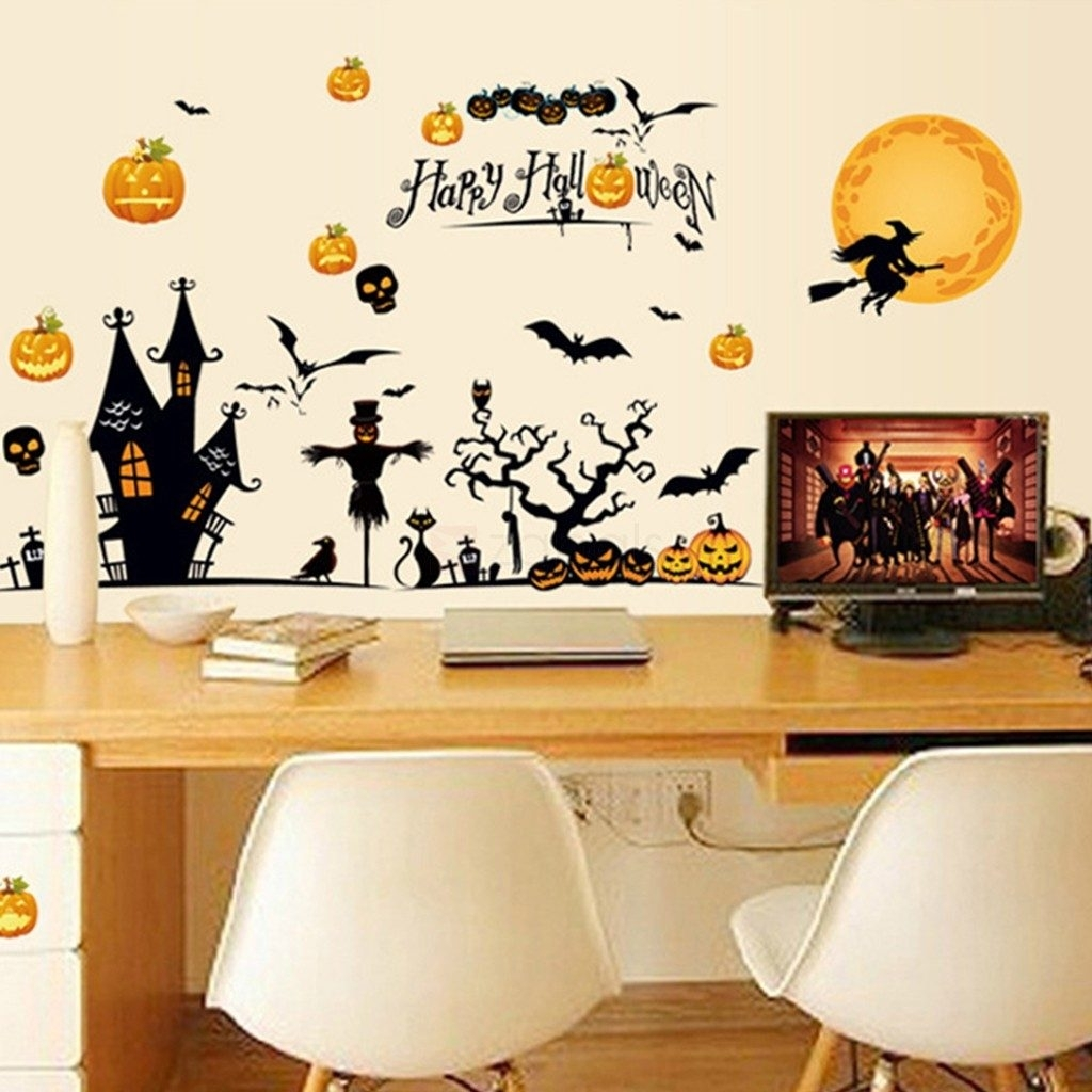 Fancy Idea Halloween Wall Art Or Theme D Cor Stickers Diy Vinyl With Most Popular Halloween Led Canvas Wall Art (View 4 of 15)