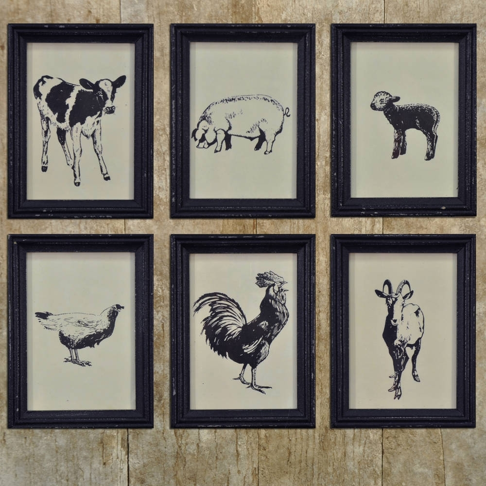 Farm Animal Framed Vintage Prints – Set/6 – Piper Classics Inside Current Framed Animal Art Prints (View 6 of 15)