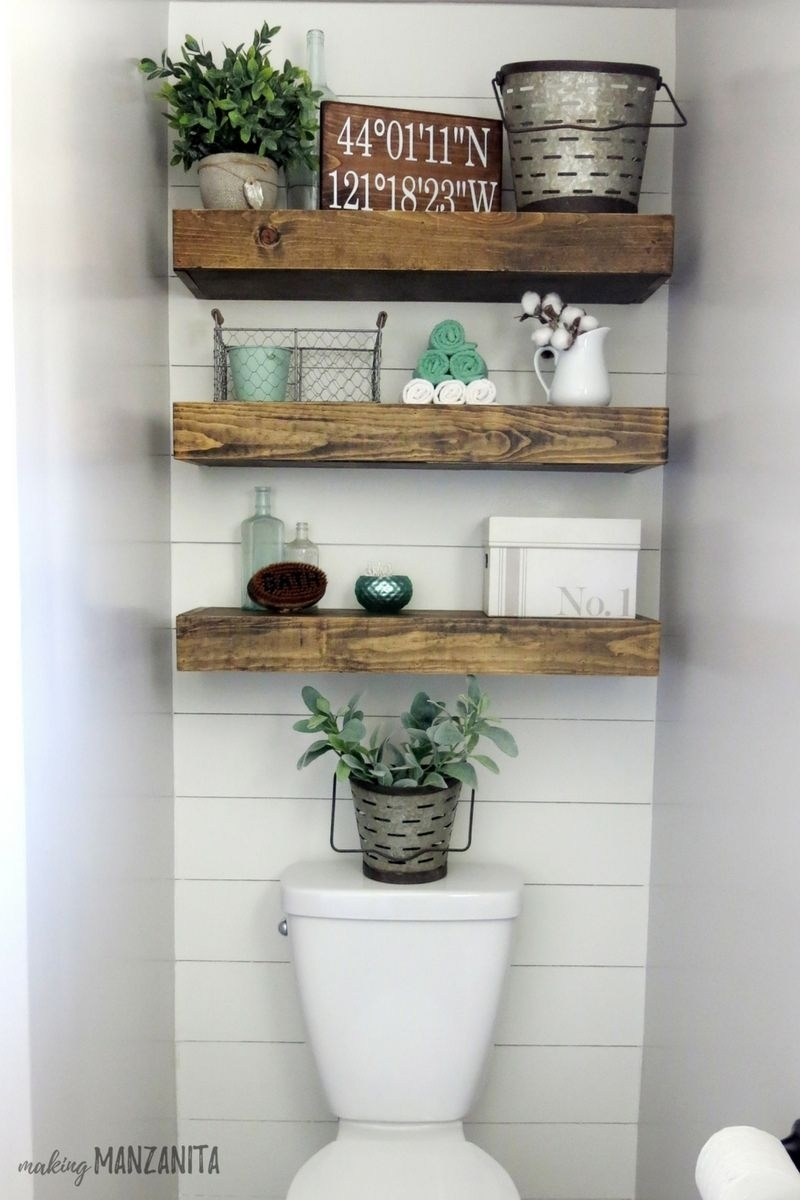Farmhouse Master Bathroom Reveal | Wall Wood, Toilet And Small Pertaining To Most Popular Wall Accents Behind Toilet (View 9 of 15)