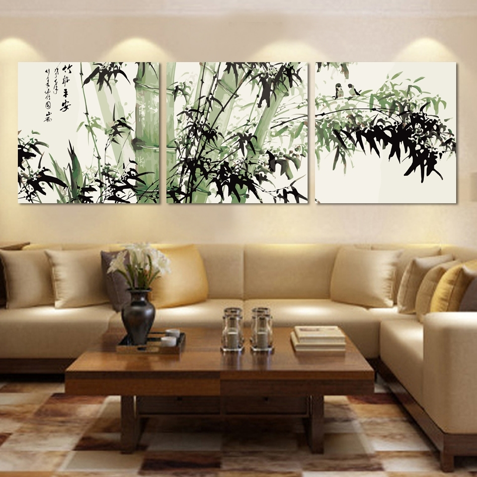 Fashion Large Canvas Art Cheap Modern Abstract Bamboo Canvas Wall Throughout Most Recent Large Canvas Wall Art (View 12 of 15)