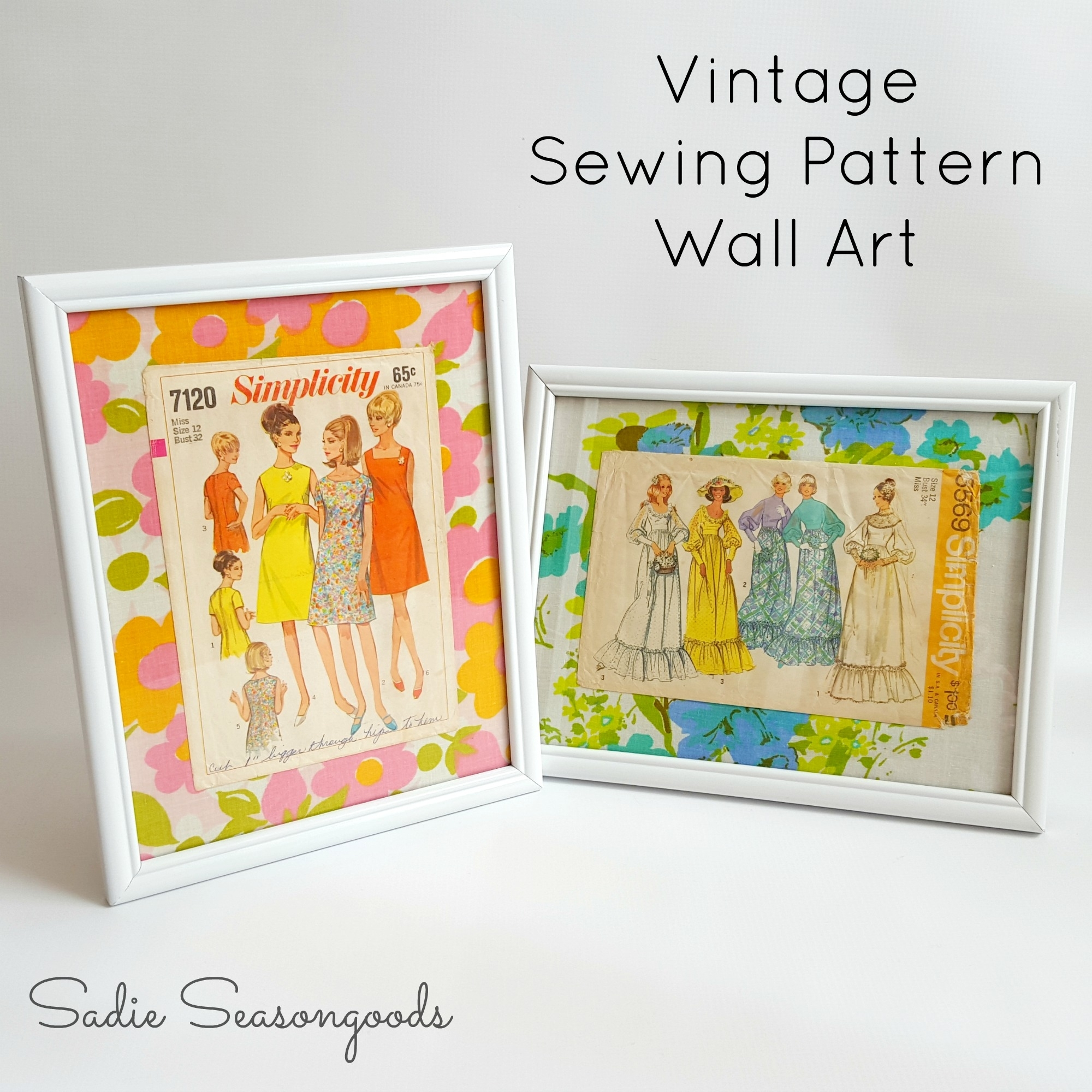 Fashion Wall Art Using Repurposed Vintage Sewing Patterns throughout Most Recent Fabric Wall Art Patterns