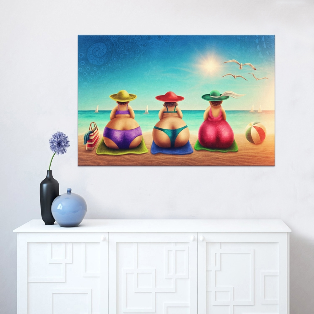 Fat Lady On Beach Canvas Wall Art 1 Piece Bikini Woman Holiday For Latest Beach Canvas Wall Art (Gallery 10 of 15)