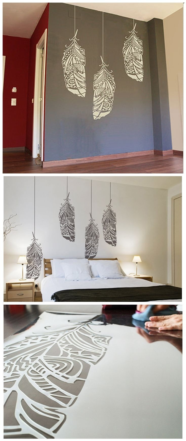 Feather Stencil, Ethnic Decor Element For Wall, Furniture Or In Latest Scandinavian Fabric Wall Art (View 6 of 15)