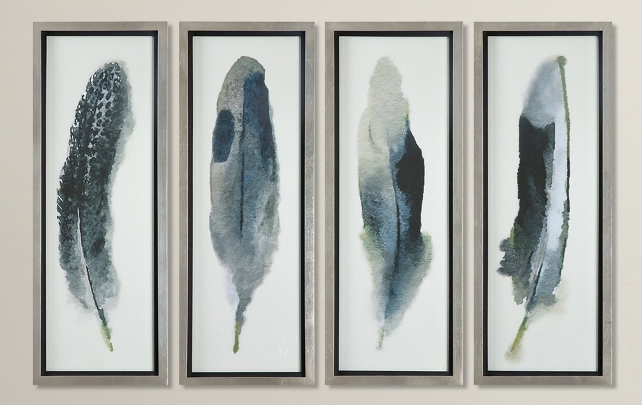 Feathered Beauty Prints 4 Piece Framed Graphic Art Set & Reviews Intended For Most Popular Framed Art Prints Sets (Gallery 11 of 15)