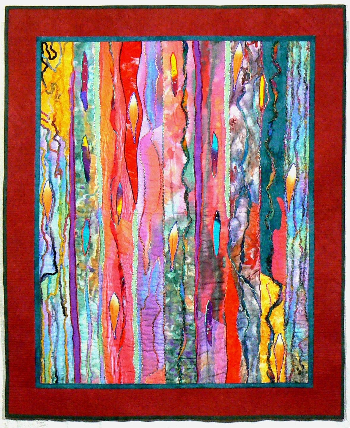 Fiber Art Quilt, Art Wall Hanging, Contemporary Quilt, Modern Art throughout Most Popular Quilt Fabric Wall Art
