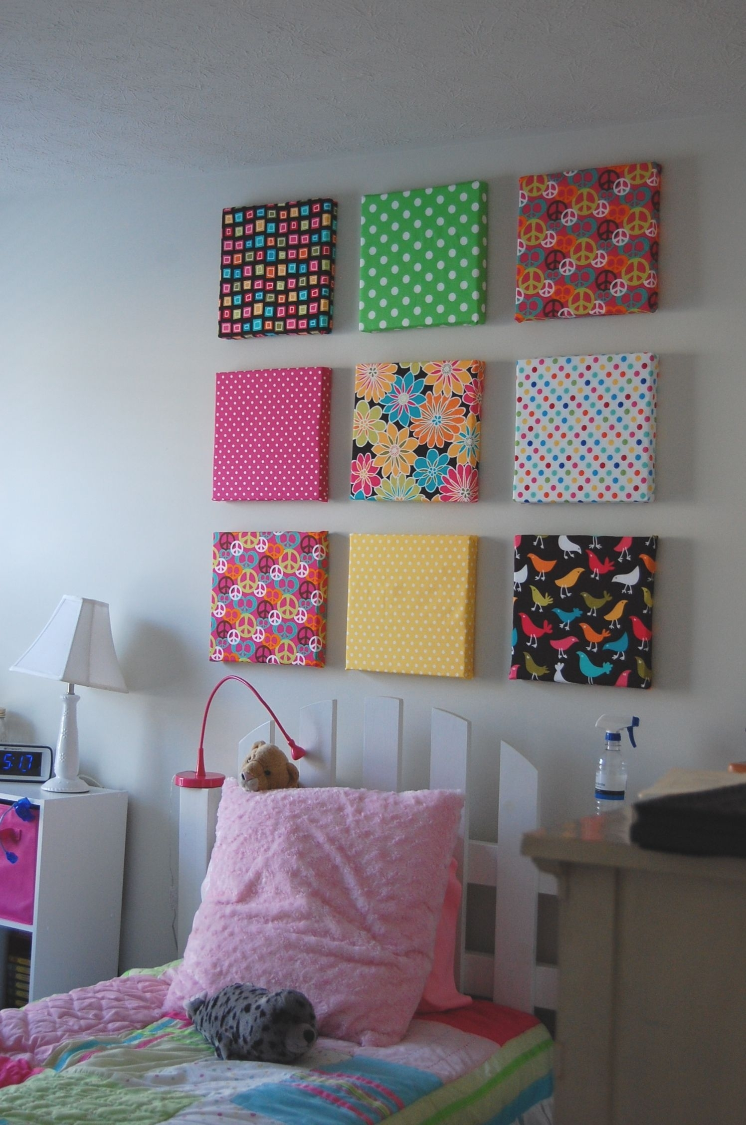 Finally Finished My Daughter's Room. I Bought Styrofoam Sheets Inside Most Current Fabric Covered Squares Wall Art (Gallery 1 of 15)