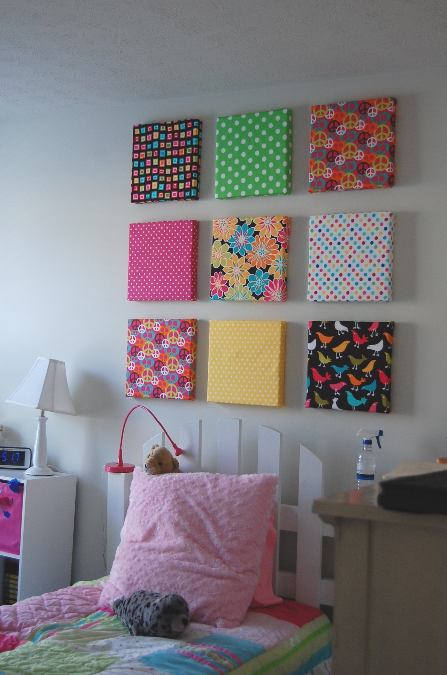 Finally Finished My Daughter's Room. I Bought Styrofoam Sheets within 2018 Fabric Wrapped Styrofoam Wall Art