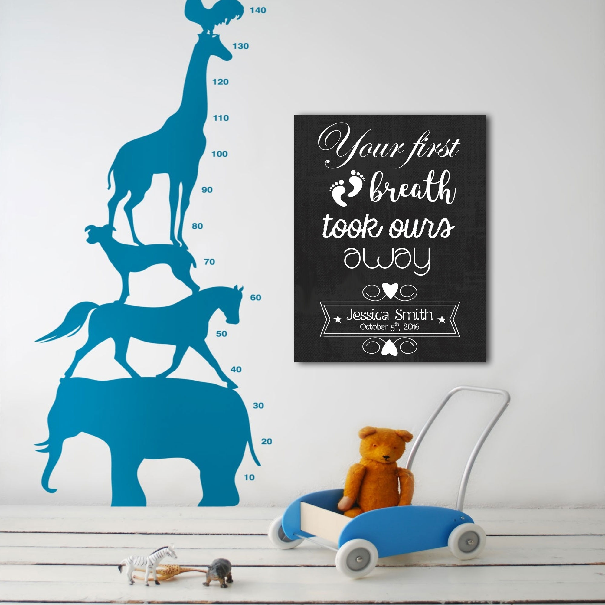 First Breath Personalized Nursery Décor Canvas Wall Art – Paper Blast Intended For 2018 Personalized Nursery Canvas Wall Art (View 14 of 15)
