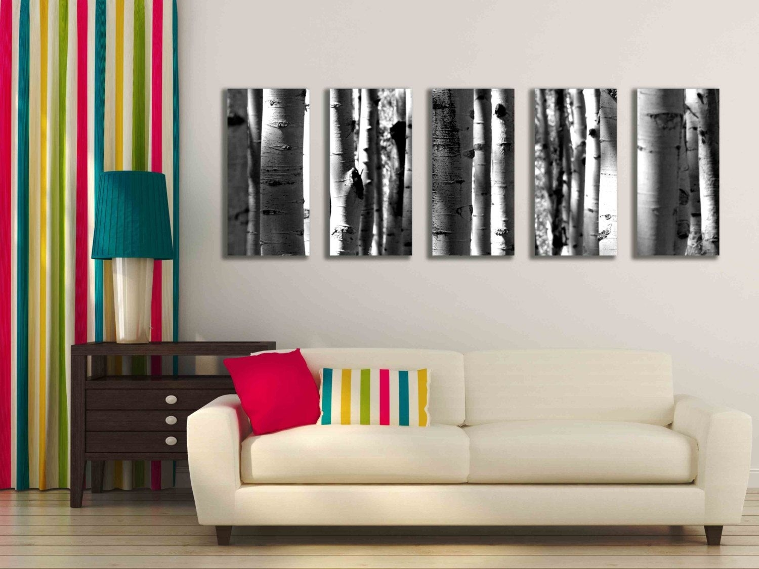 Five Multi Panel 10x20 Inch Canvas Print Black And White Aspen Pertaining To Best And Newest Murals Canvas Wall Art (View 15 of 15)