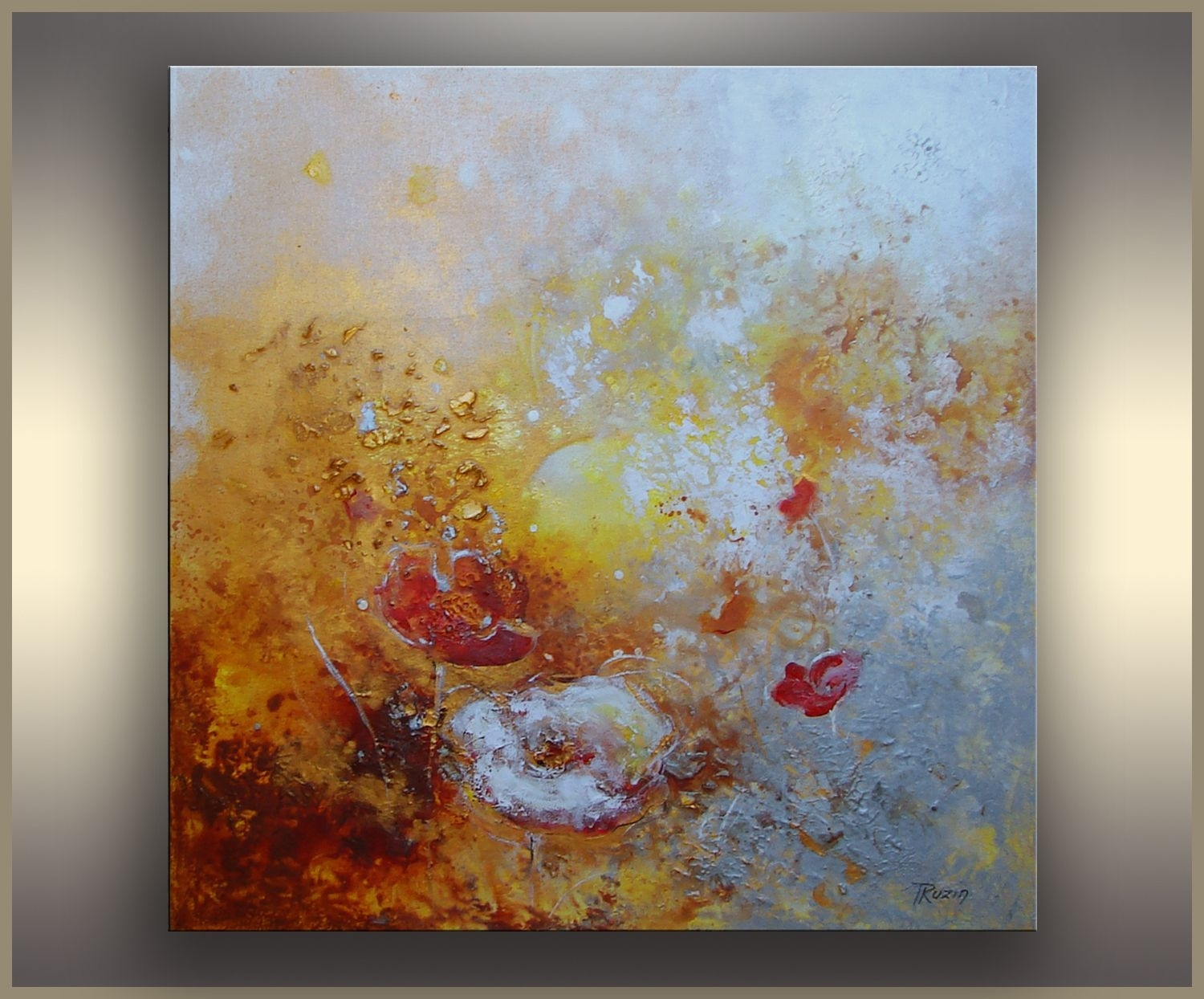 Floral Art, Reaching The Sun, Abstract Painting, Toronto regarding Most Current Mississauga Canvas Wall Art