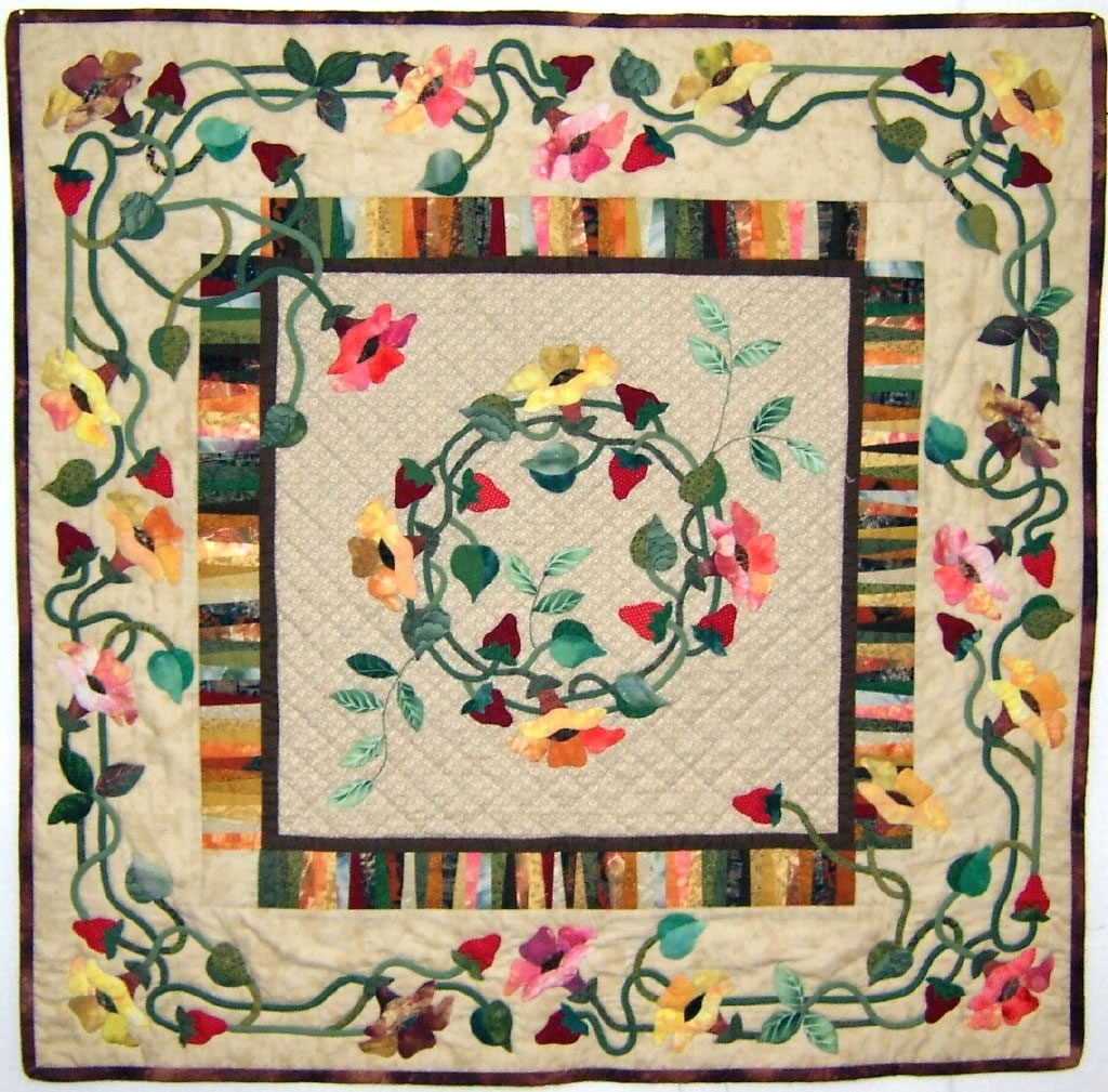 Floral Contemporary Fabric Wall Art With Regard To Best And Newest Fabric Applique Wall Art (View 4 of 15)