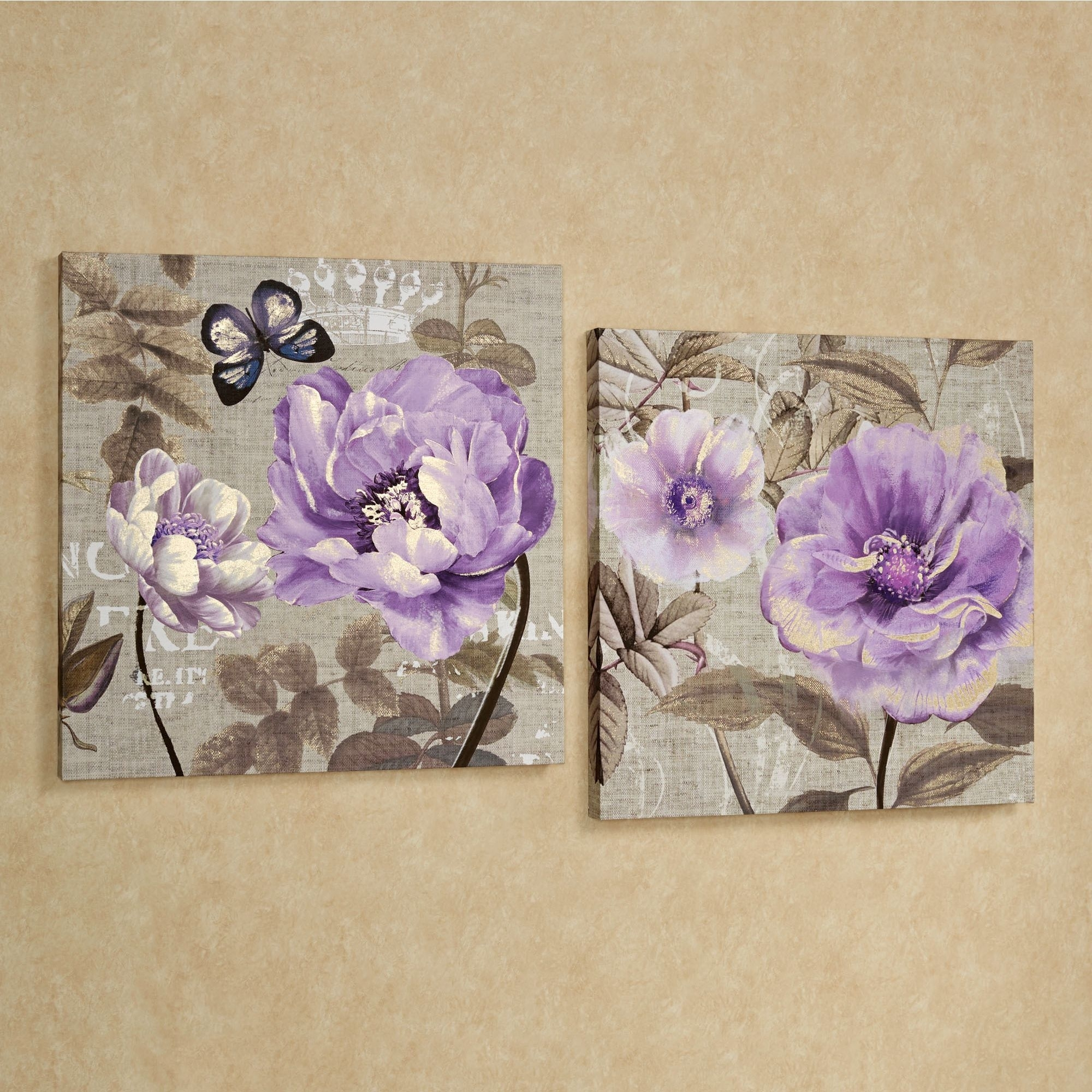 Floral Delight Purple Flower Canvas Wall Art Set | Wall Art Sets With Current Lilac Canvas Wall Art (View 3 of 15)