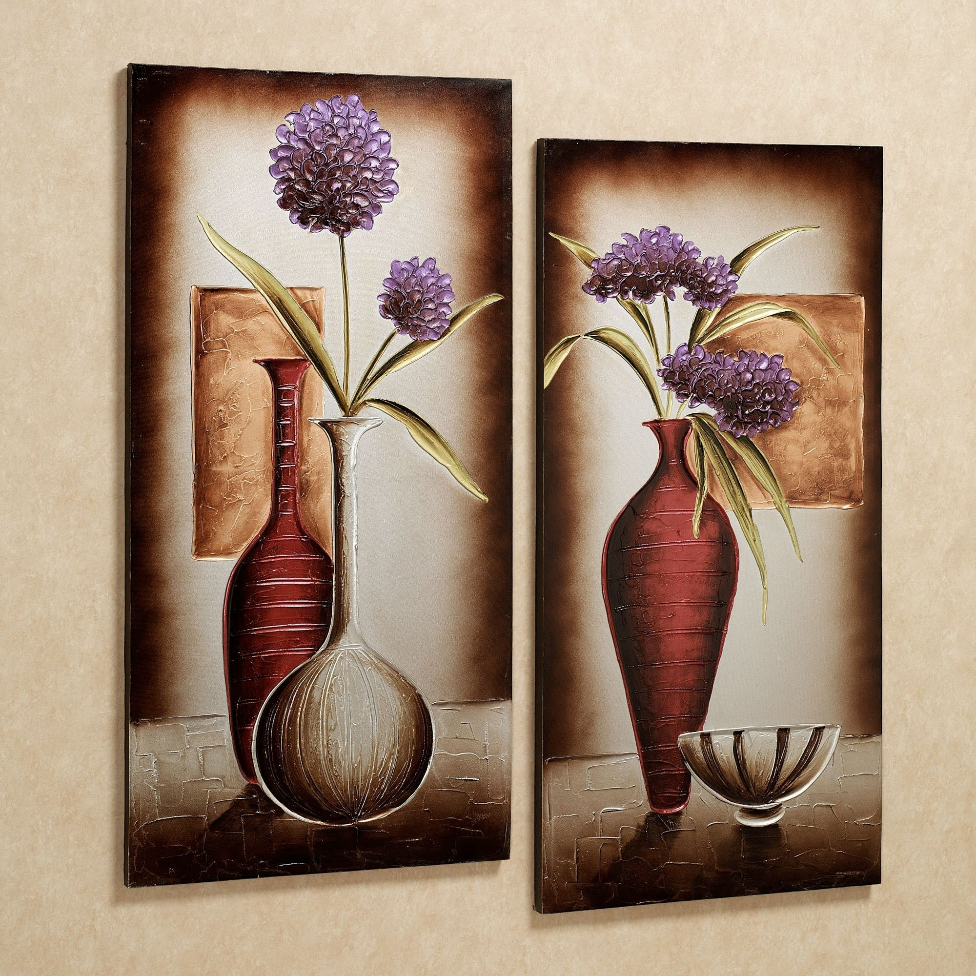 Floral Tranquility Canvas Wall Art Set Regarding Most Current Purple Flowers Canvas Wall Art (View 7 of 15)