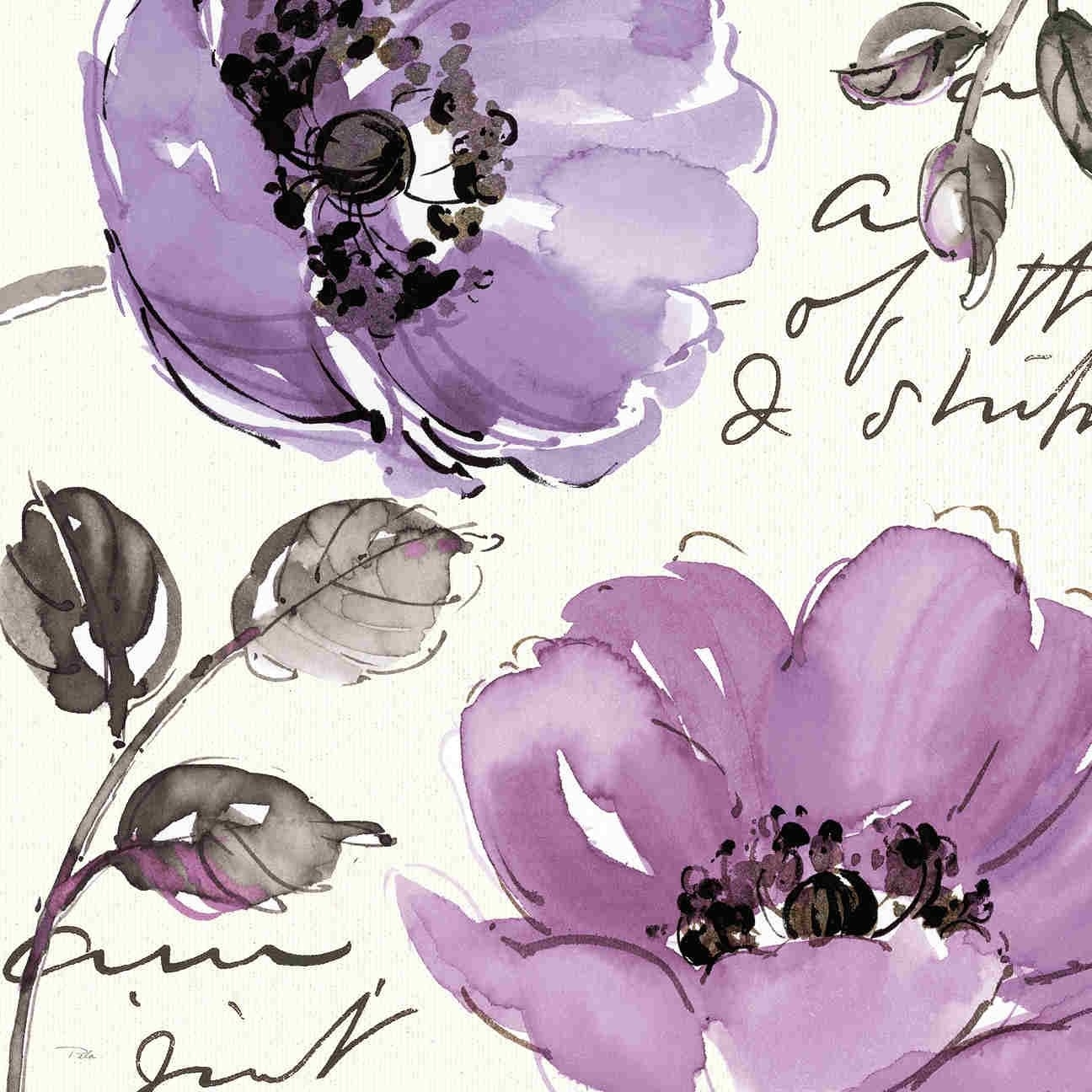Floral Waltz Plum Iipela Studio Contemporary Purple Floral Art Pertaining To Recent Flowers Framed Art Prints (View 4 of 15)
