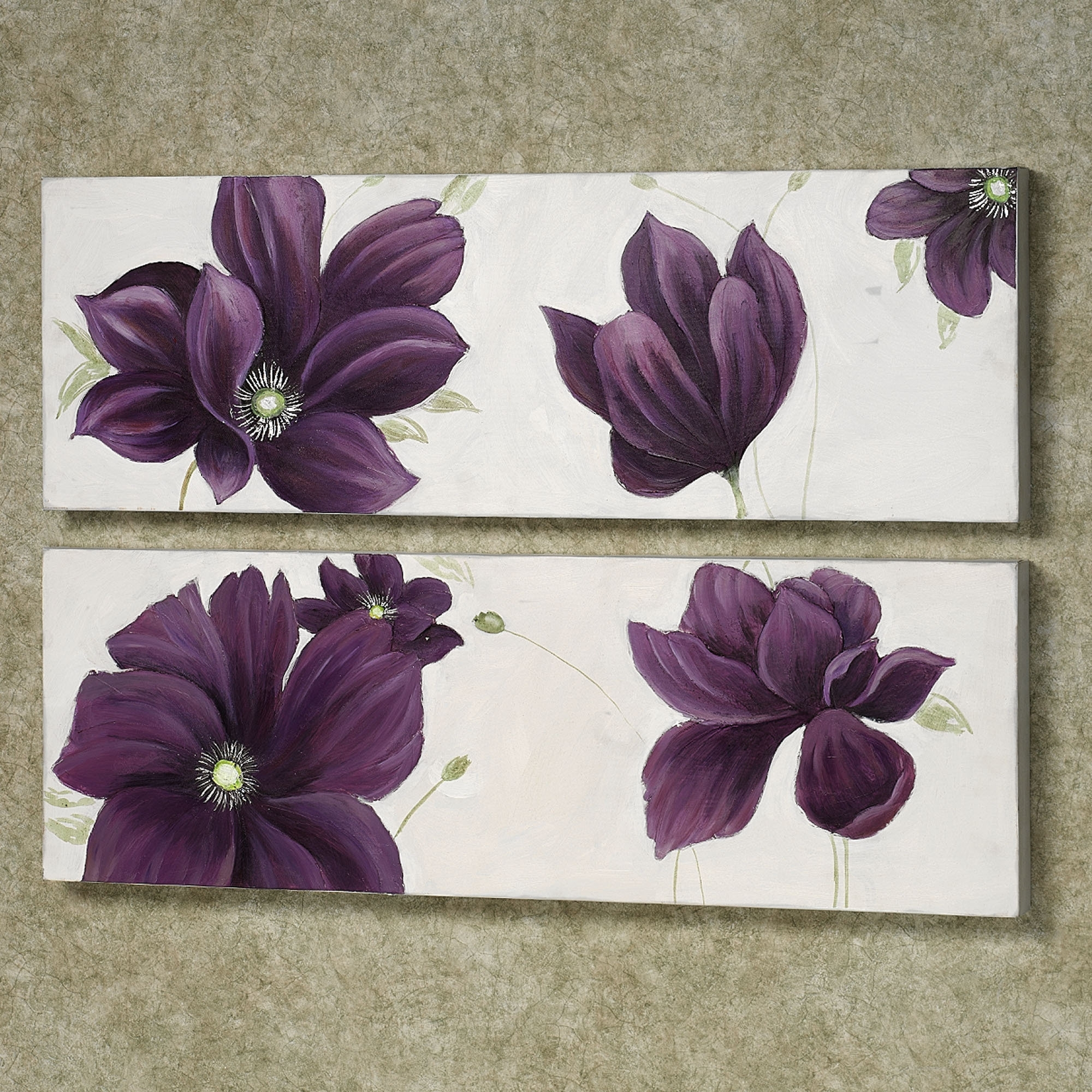 Floral Whispers Canvas Wall Art Set | Whisper, Canvases And Floral For Current Purple Flowers Canvas Wall Art (View 5 of 15)