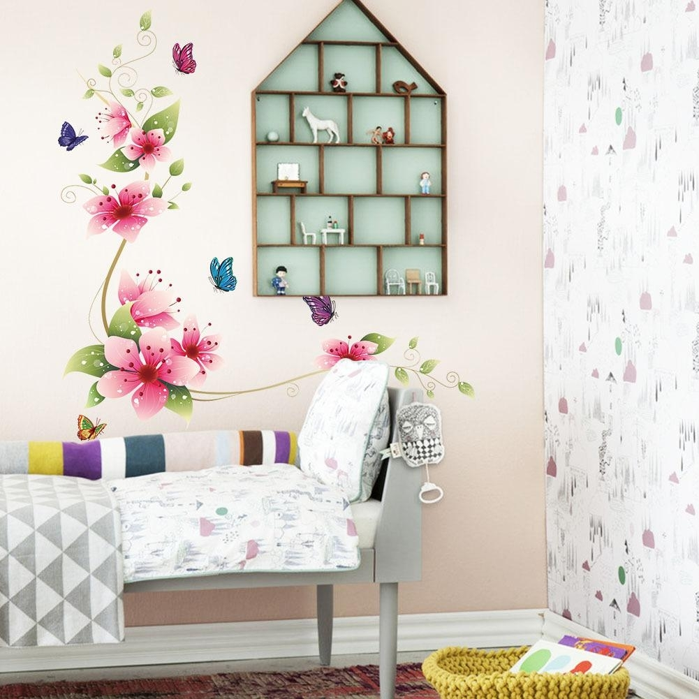Flower Butterfly Wall Stickers Living Room Flower Wall Decal In Most Up To Date Flowers Wall Accents (View 8 of 15)