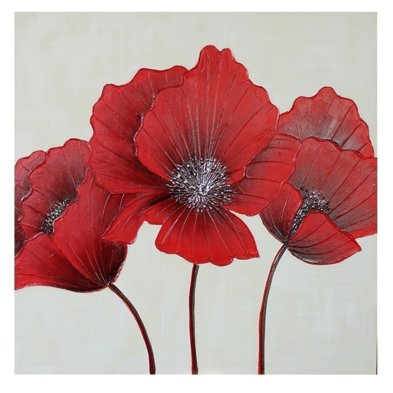 Flower Canvas Wall Art 80 X 80cm Intended For 2017 Red Flowers Canvas Wall Art (View 5 of 15)