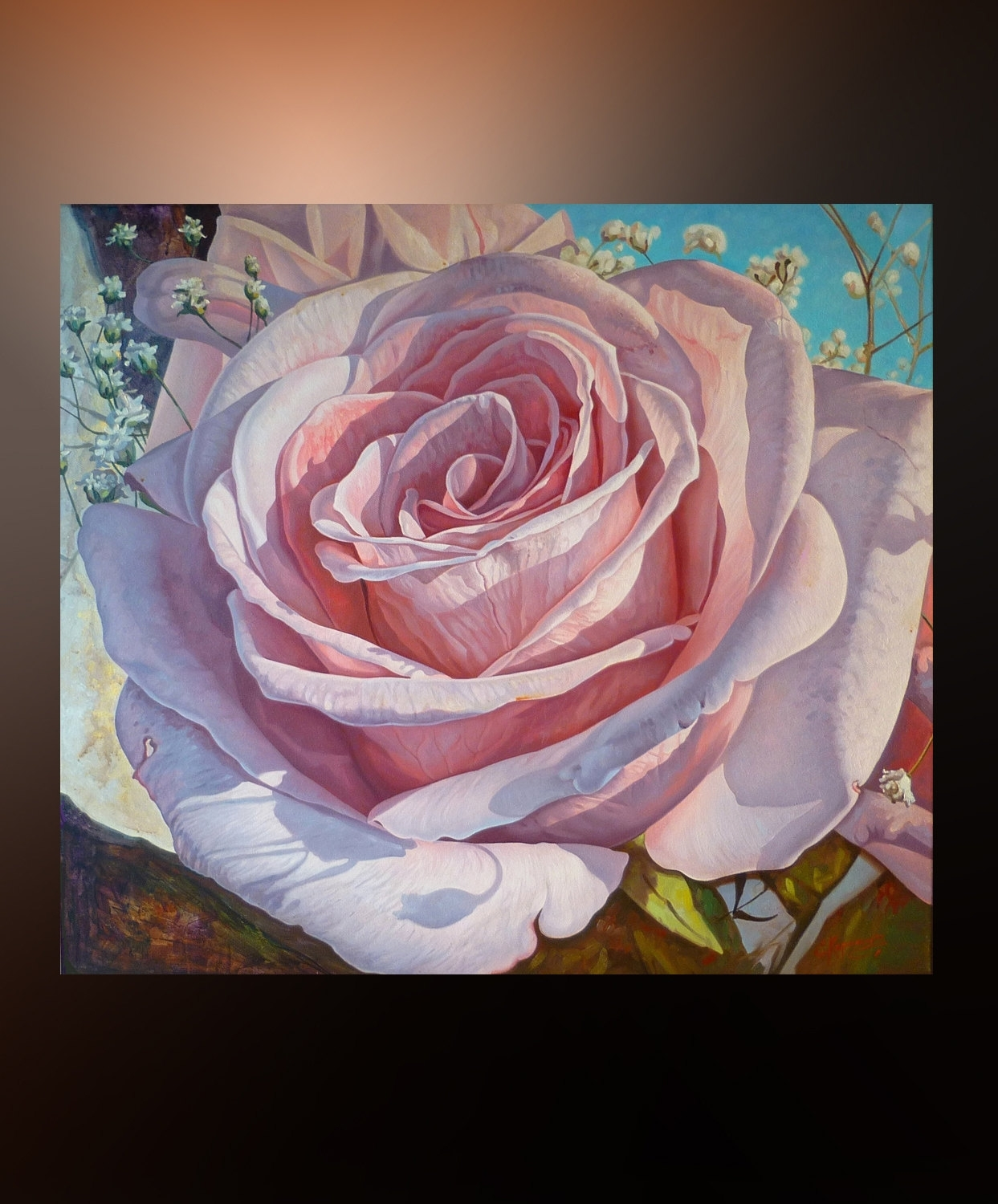 Flower Rose | Large Wall Art | Floral Painting For Bedroom | Oil throughout Best and Newest Roses Canvas Wall Art