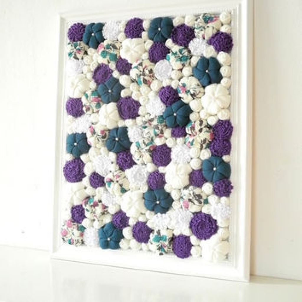 Flower Wall Art Decor Marvelous 3D Flower Wall Decor 5 Fabric Wall Inside Most Up To Date Fabric Flower Wall Art (Gallery 2 of 15)