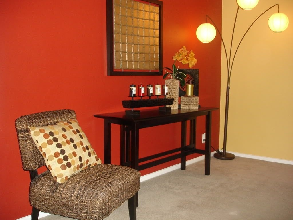 Focal Point. Accent Wall. Red Wall. Warm Tones. Basement Painting Throughout Recent Wall Accents Without Paint (Gallery 14 of 15)