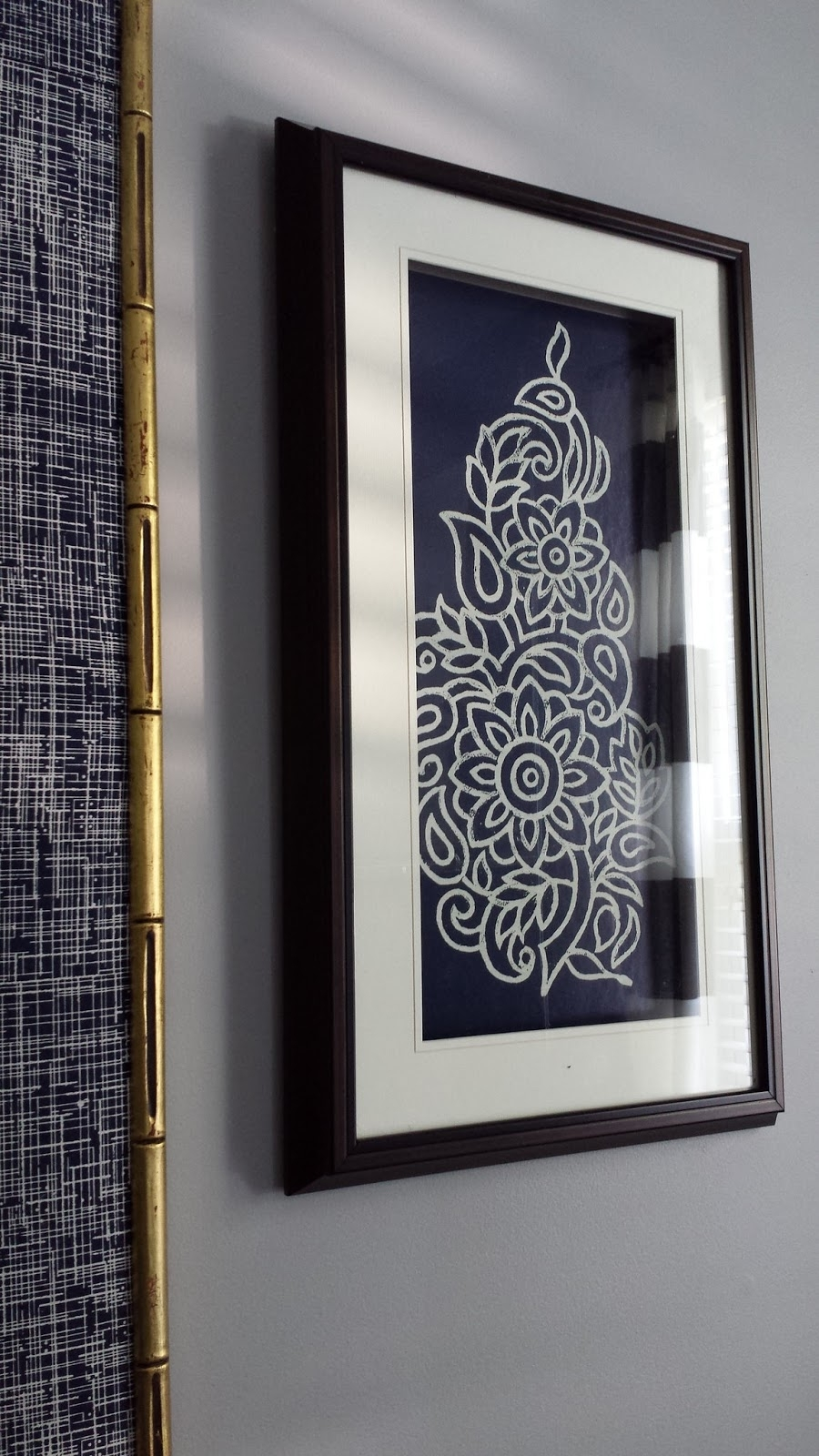 Focal Point Styling: Diy Indigo Wall Art With Framed Fabric for Recent Fabric Covered Frames Wall Art