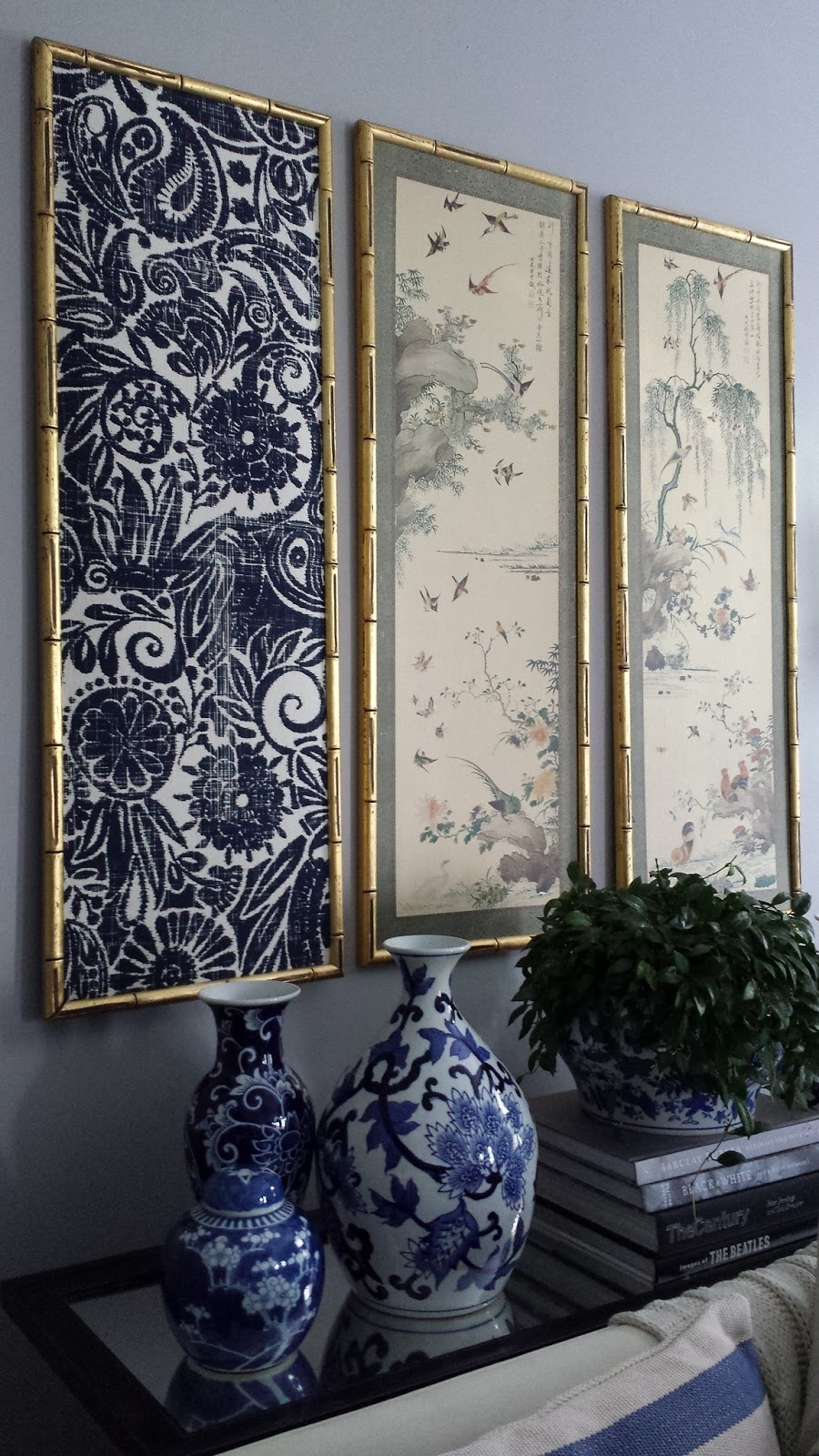 Focal Point Styling: Diy Indigo Wall Art With Framed Fabric Throughout Most Recent Ikat Fabric Wall Art (View 2 of 15)