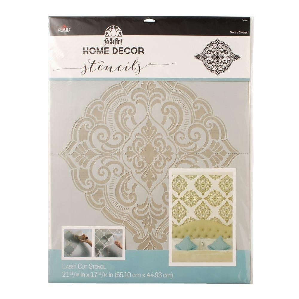 Folkart Home Decor Ornate Damask Wall Stencil (21.5 In. X (View 13 of 15)