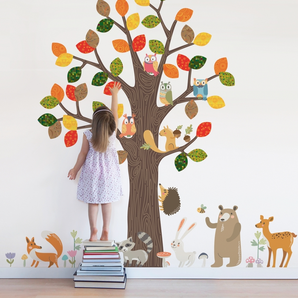 Forest Animals Wall Sticker - Peel And Stick Repositionable Fabric within Newest Fabric Tree Wall Art