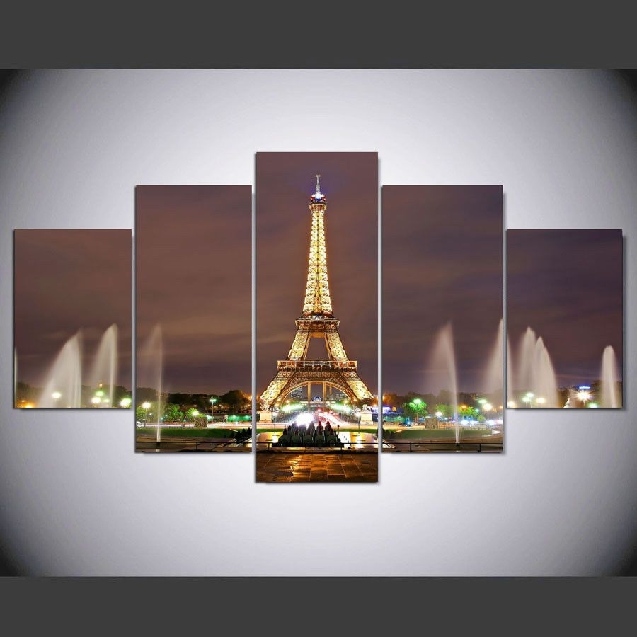 Fountain And Eiffel Tower 5 Pcs Canvas Hd Prints Painting Wall Art For Current Eiffel Tower Canvas Wall Art (View 9 of 15)