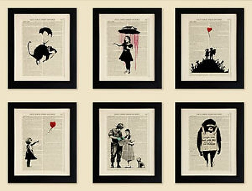Frame Set Of 6 Framed Art Prints On Old Antique Book Page, Banksy Pertaining To Current Antique Framed Art Prints (View 5 of 15)
