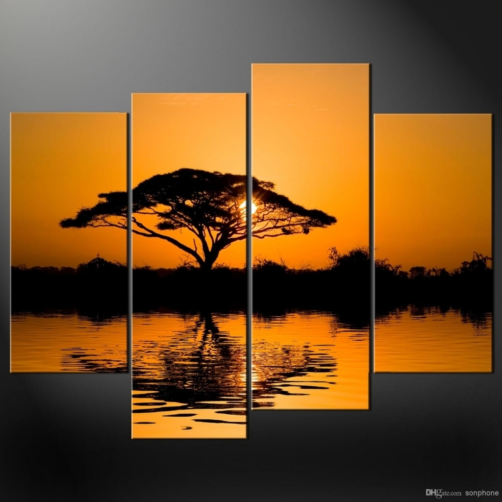Framed 4 Panel Large African Wall Art Decor Modern Sunset Oil In Inside Newest African Wall Accents (Gallery 9 of 15)