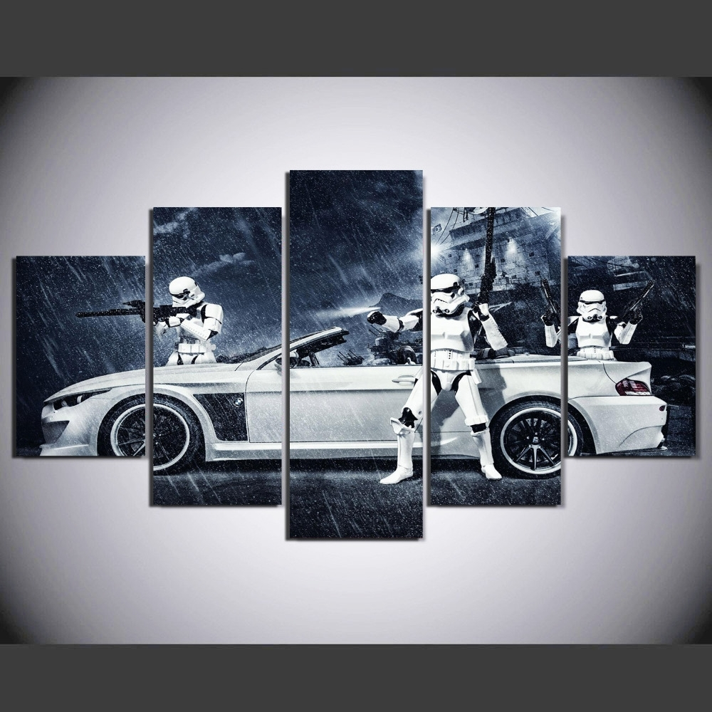Framed) 5 Pieces Star Wars Assault Vehicle Bmw Modern Home Wall Inside Most Up To Date Bmw Canvas Wall Art (View 2 of 15)
