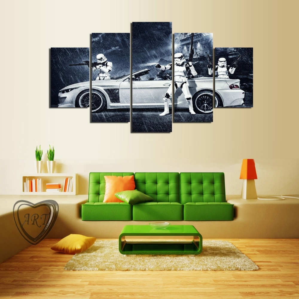Framed) 5 Pieces Star Wars Assault Vehicle Bmw Modern Home Wall With 2017 Bmw Canvas Wall Art (View 10 of 15)