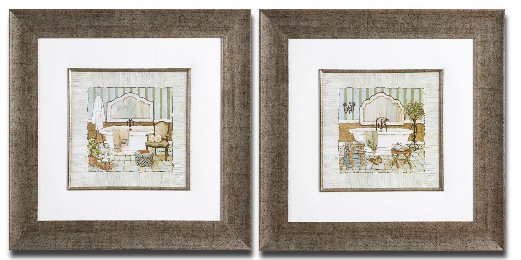 Framed Art For Bathroom, French Bathroom Prints Vintage Bathroom Inside Most Recent Framed Art Prints Sets (View 4 of 15)