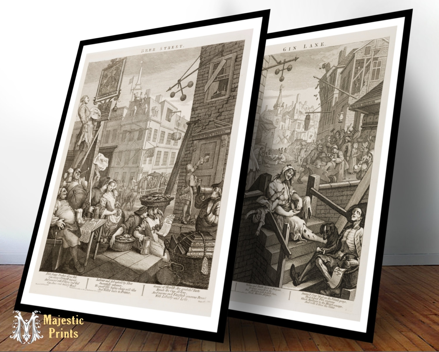 Framed Beer Street And Gin Lane Antique Art Print Set – Bar Decor Throughout Current Antique Framed Art Prints (View 7 of 15)