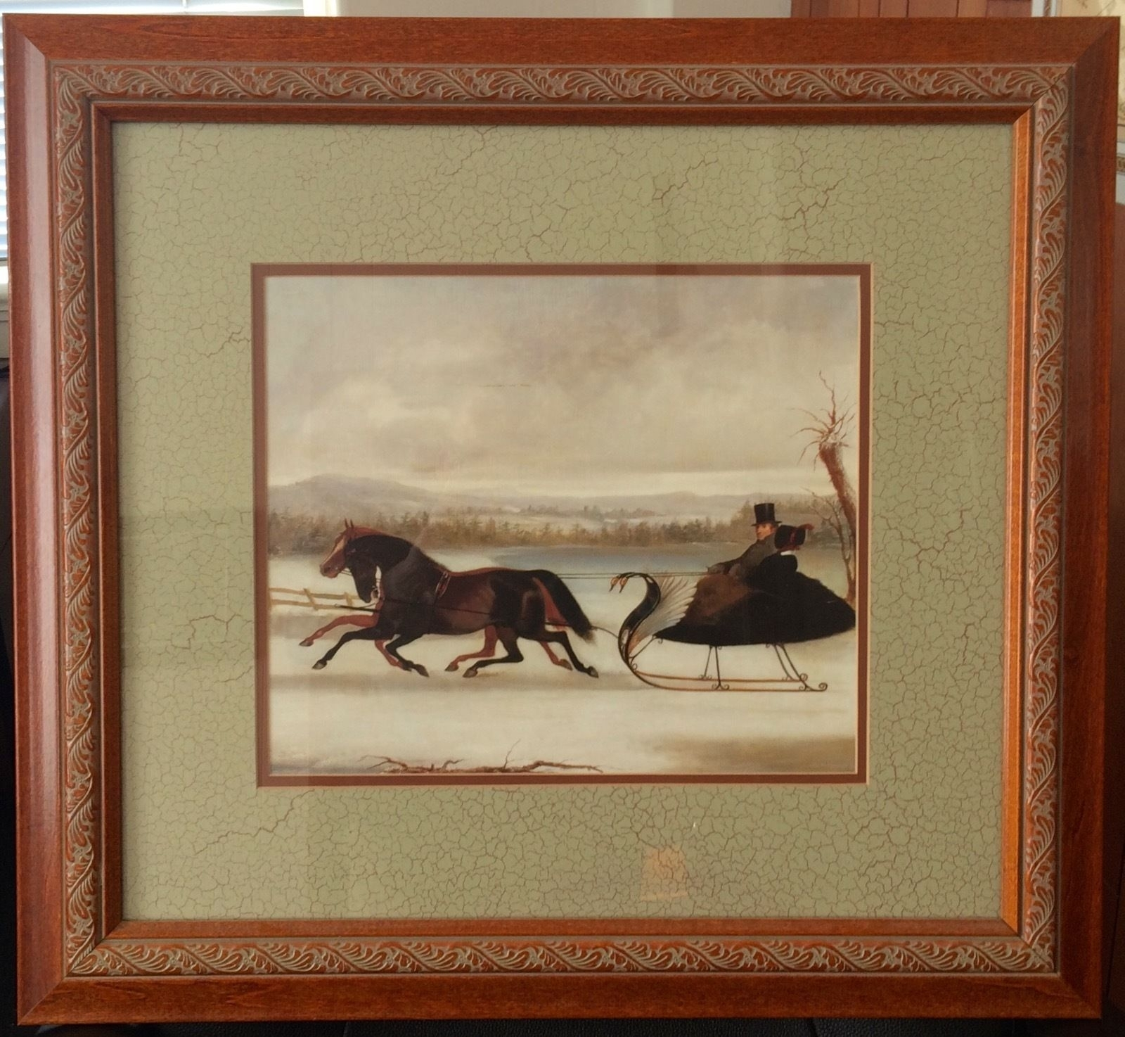 Framed Double Matted Art Print With Horses And Swan Sleigh | Ebay Regarding Recent Framed And Matted Art Prints (Gallery 12 of 15)